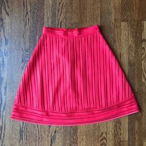 J. Crew Red Coral A-line Striped Skirt
